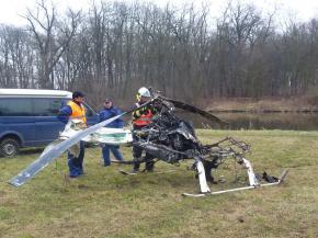 Ohořelý vrtulník u Bohušovic
