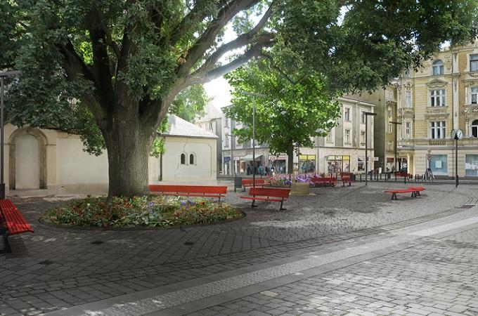 Vizualizace proměny Husova náměstí v Děčíně. Zdroj: archiv Město Děčín