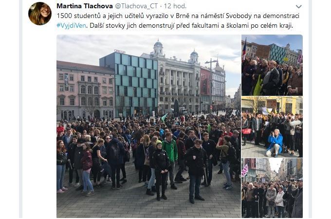 Protest studentů v Brně. Reprofoto: Twitter/Martina Tlachová