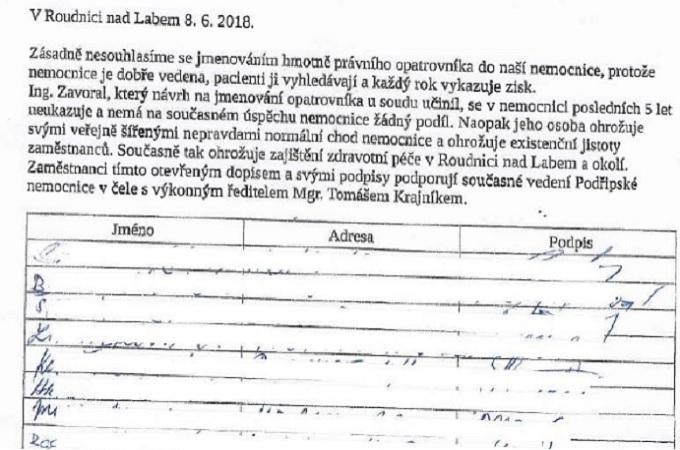 Petice, ilustrační foto. Foto: Facebook/Boj za záchranu roudnické nemocnice podruhé