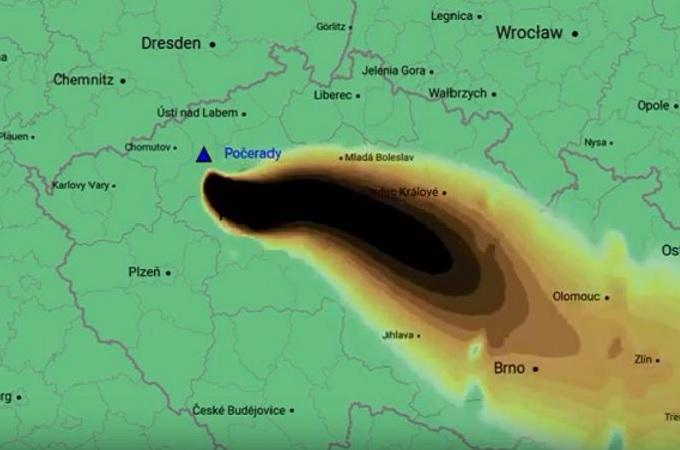 Vizualizace znečištění z elektrárny Počerady. Zdroj: Greenpeace